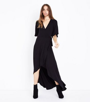 Black Wrap Front Dip Hem Jersey Maxi Dress