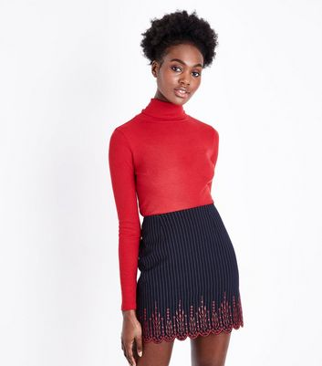 Navy Pinstripe Broderie Hem Mini Skirt
