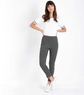 Black Geometric Skinny Stretch Trousers