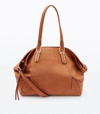 Tan Leather Look Slouchy Tote Bag