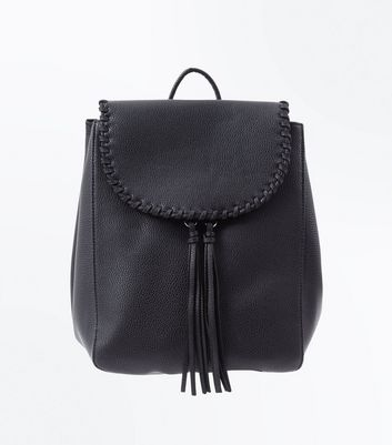 Black Whipstitch Tassel Mini Backpack