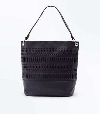 Black Stitch Trim Slouchy Hobo Bag