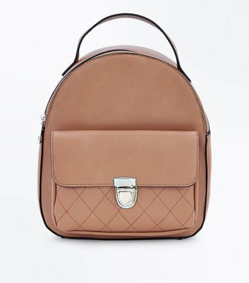 Tan Quilted Pocket Mini Backpack