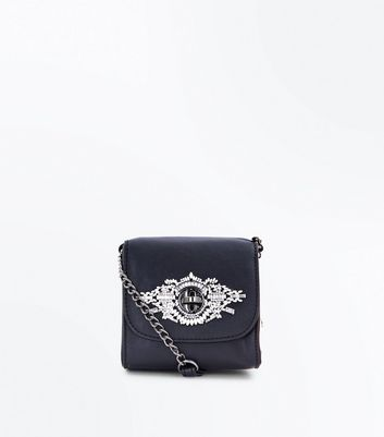 Black Gem Embroidered Micro Cross Body Bag