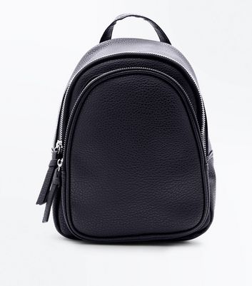 Black Double Zip Around Mini Backpack