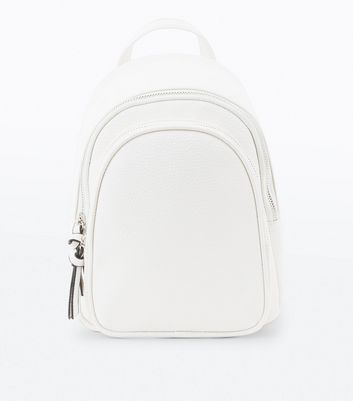 White Double Zip Around Mini Backpack