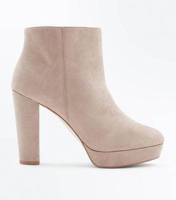Wide Fit Light Brown Suedette Platform Boots