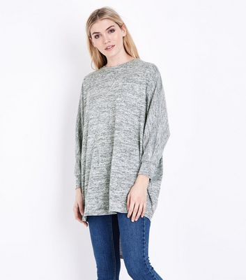 Pale Grey Brushed Batwing Sleeve Top