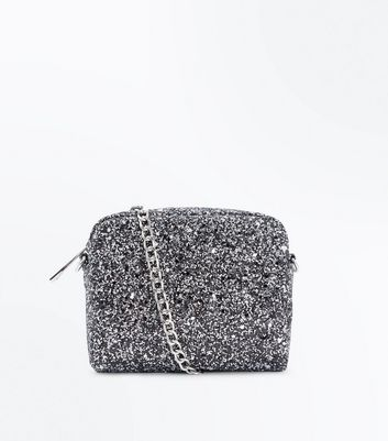 Pewter Glitter Chain Strap Micro Bag