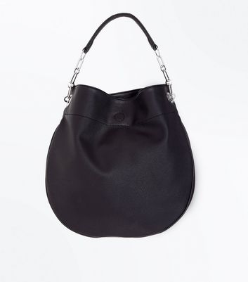 Black Round Slouchy Hobo Bag