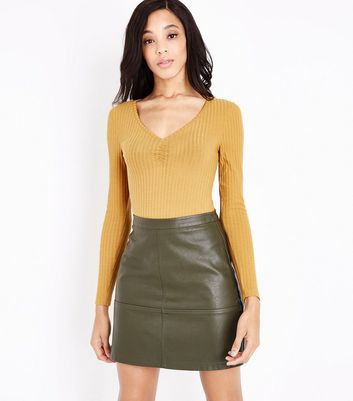 Tall Dark Green Leather-Look Mini Skirt