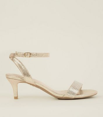 Wide Fit Gold Comfort Flex Diamante Strap Kitten Heels