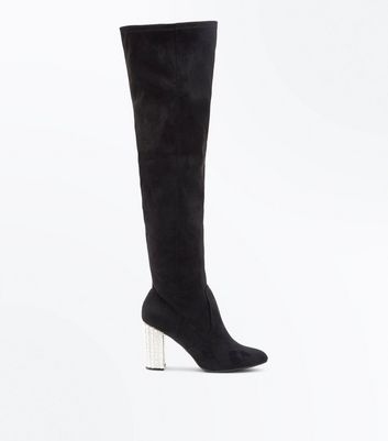 Wide Fit Black Suedette Embellished Heel Over the Knee Boots