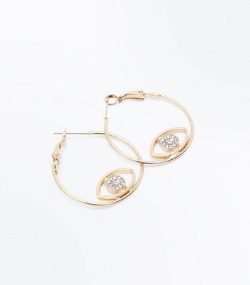 Gold Eye Detail Hoop Earrings