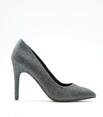 Green Glitter Pointed Court Shoes