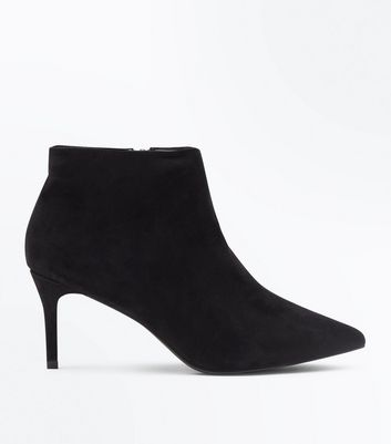 Wide Fit Black Suedette Stiletto Heel Ankle Boots