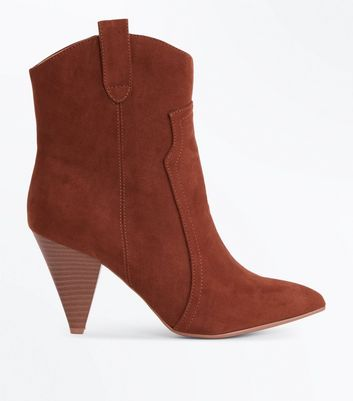 Wide Fit Tan Suedette Cone Heel Western Boots