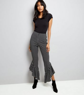 Cameo Rose Black Stripe Frill Hem Trousers