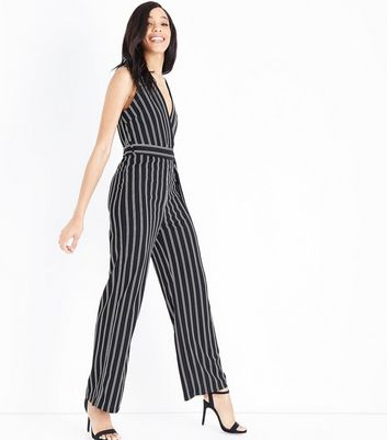 Mela Black Stripe V Neck Jumpsuit