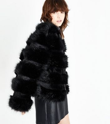 Black Pelted Faux Fur Jacket | New Look