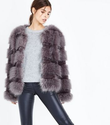 Graue Fake-Fur-Jacke mit Fell-Effekt