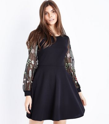 Mela Black Embroidered Mesh Balloon Sleeve Dress