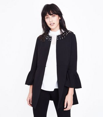 Mela Black Pearl Embellished Jacket