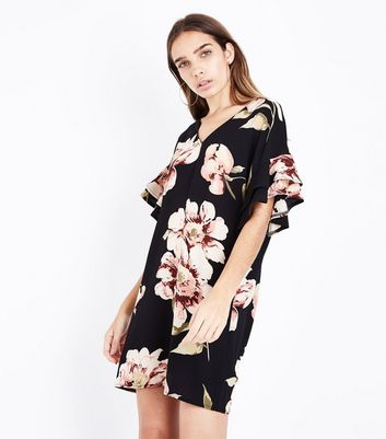 Black Floral Bar Back Frill Sleeve Tunic Dress