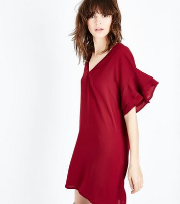 Red Frill Sleeve Bar Back Tunic Dress