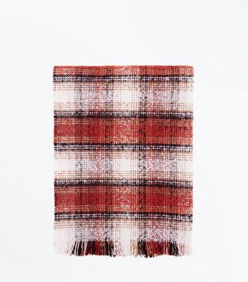 Rust Textured Check Scarf