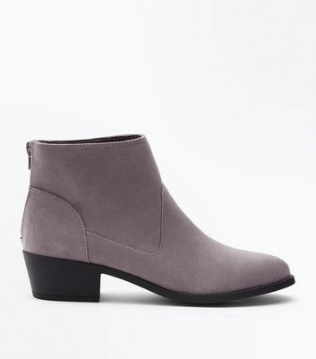 Grey Suedette Western Ankle Boots