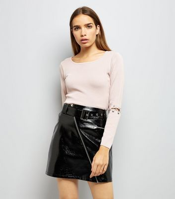 Cameo Rose Pink Lace Up Elbow Jumper