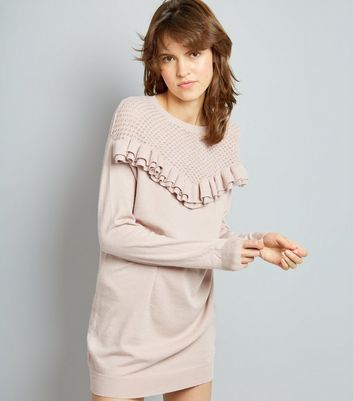 Cameo Rose Pink Frill Trim Knitted Tunic