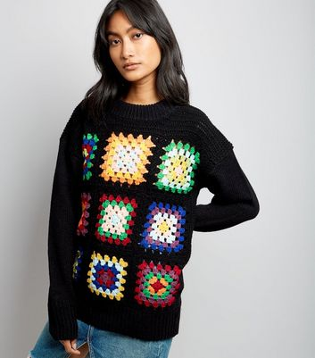 Cameo Rose Black Patchwork Knitted Jumper