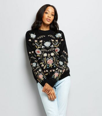 Cameo Rose Black Floral Embroidered Jumper