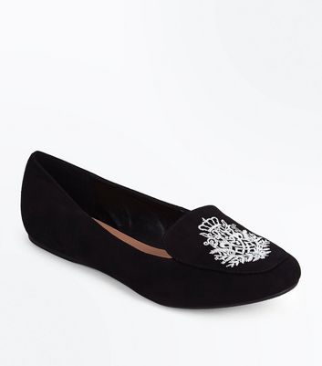 Black Suedette Crest Embroidered Loafers