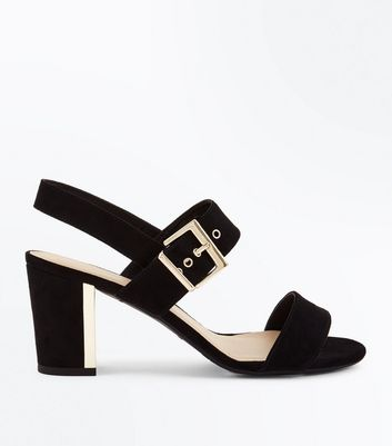 Teens Black Suedette Metal Block Heel Sandals