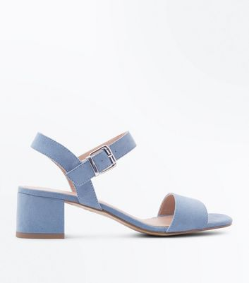 Teens Pale Blue Suedette Block Heel Sandals