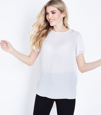 Off White Tiered Sleeve Step Hem Top