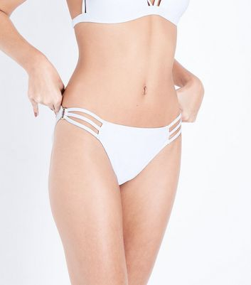 White Strappy Side Bikini Bottoms