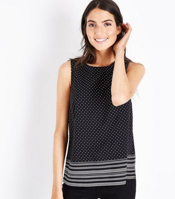 White Spot Print Stripe Hem Top