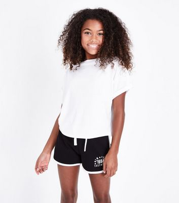 Teens Black East Side Slogan Shorts