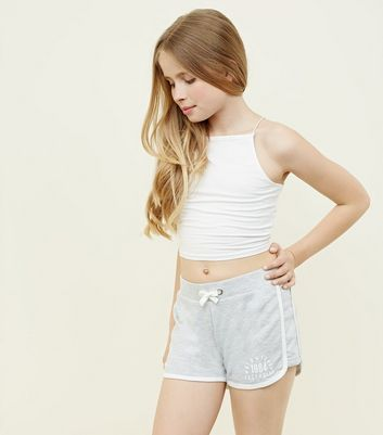 Teens Grey New York Slogan Side Shorts