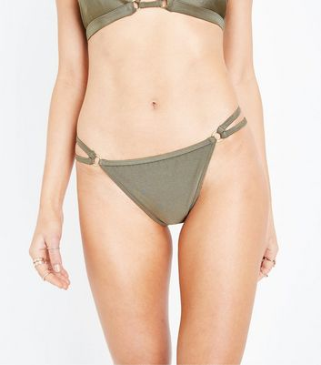 Khaki High Leg Strappy Side Bikini Bottoms