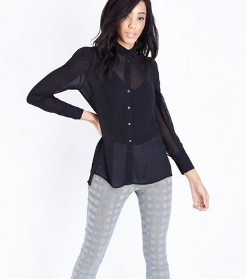 Black Chiffon Gathered Sleeve Shirt