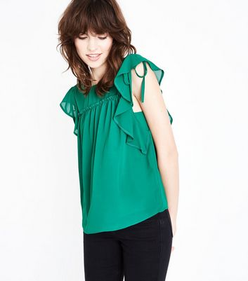 Green Ruched Frill Trim Top