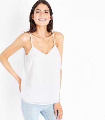 Off White Strappy Back Cami