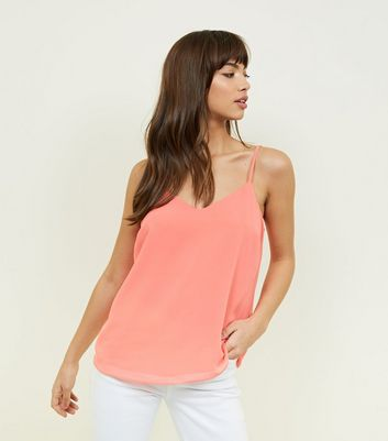 Coral Strappy Back Cami by New Look