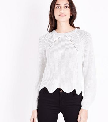 Cream Scallop Hem Jumper