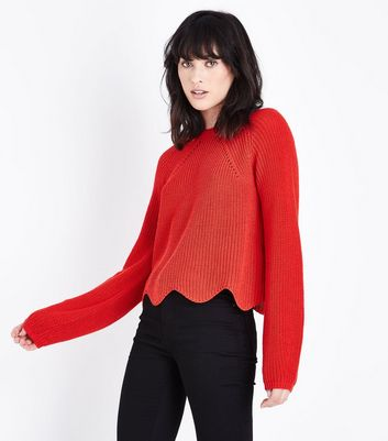Red Scallop Hem Jumper